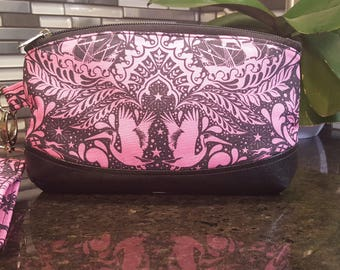 Tula Pink Ship Shape Sky Wristlet / Cosmetic Bag / Purse Organizer