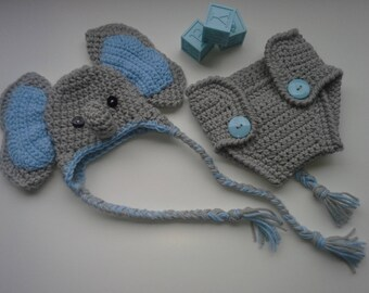 Elephant Baby Hat With Diaper Cover