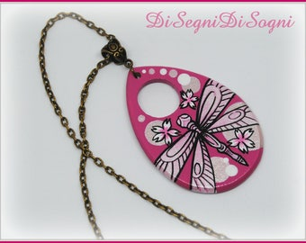 Hand Painted Dragonfly Necklace