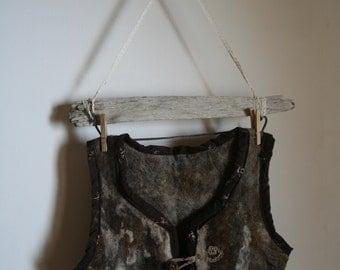 Felted Vest, wool handfelted Natural Wool, Viking , Rustic , Folk ,elven ,Costume