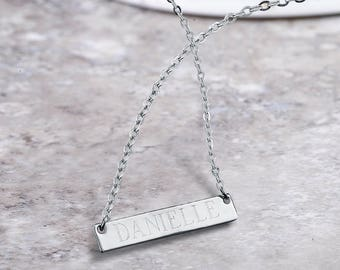 Personalized Long Bar Necklace