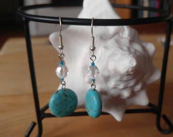 Turquiose circle drop earrings