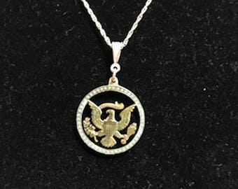 Kennedy Half Dollar Eagle and Stars Necklace