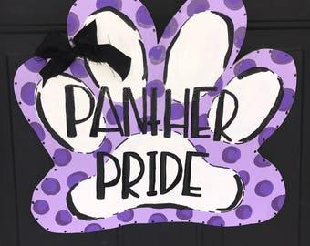 paw print - paw print sign - panther paw - paw door sign - paw door hanger - school spirit sign - school door hanger - panther pride sign