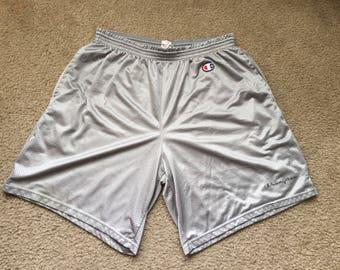 Men's Vintage 90s Champion Gray Mesh Shorts Size Xl 40-42