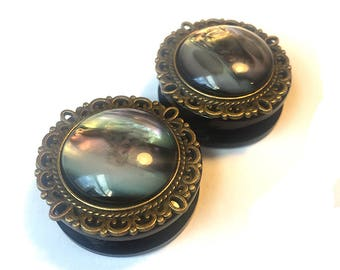 Plugs with bronze filigree and dark-pearl pattern, ear gauges bronze setting, 25mm, premade