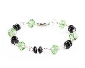 Green and Black Colored Glass Beaded Bracelets Jewelry Wire Wrapped With Silver Wire Handmade
