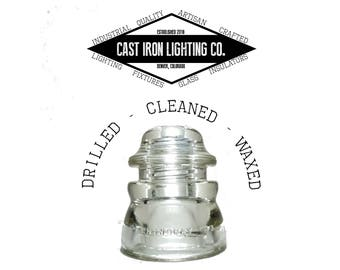 Pre-Drilled Clear Glass Insulator for Pendant or DIY Lighting - Hemingray 45 - CD 155