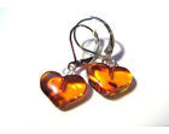 Cognac Baltic Amber Earrings and Sterling Silver Handmade Latvia