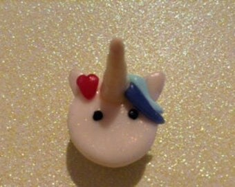 Polymer clay unicorn macaroon charm