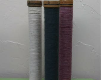 Set of 3 Vintage Textile Spools with Thread