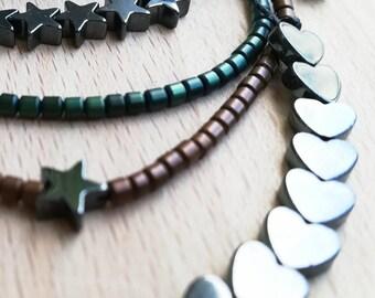 Set of 4 Hematite bracelets, minimal and Adjustable