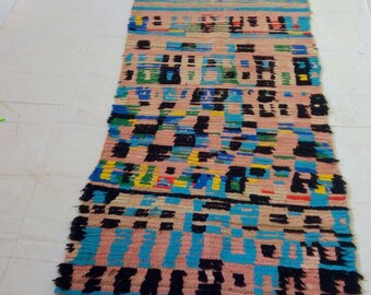 "Moroccan vintage berber rug""hallway rug""couloir marocain""teppich 300x87 cm"