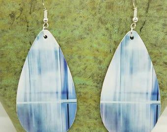 Blue Haze Collage Teardrop Earrings
