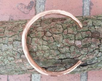 Handmade, copper, hammered, sealed, coated wire, adjustable,  bangle