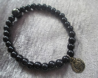 black beaded coin charm bracelet