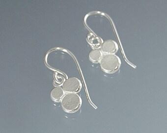 triple berries dangle earrings handmade in Argentium silver