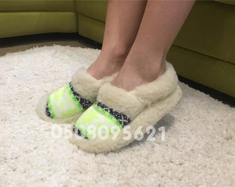 Fur slippers for women warm slippers wool moccasins boots home shoes indoor boots woolen slippers scandinavian style stars winter slippers