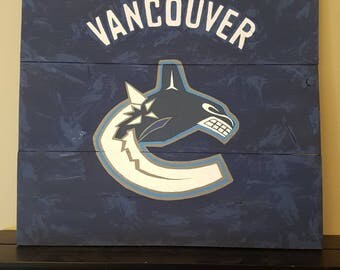 Vancouver Canucks wood sign