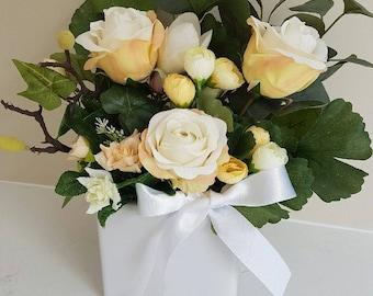 Cream Roses and Tulips with Eucalyptus Silk Flower Arrangement