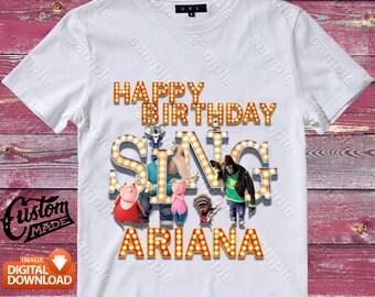 Sing Iron On Transfer, Sing Birthday Shirt DIY, Sing Shirt Designs, Sing Printable, Sing, Personalize, Digital Files
