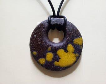 Yellow round ceramic pendant