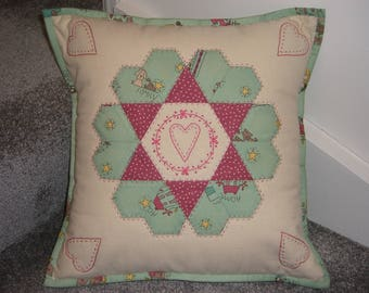 Green / Pink English Paper Pieced & Embroidered Cushion