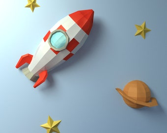 Rocket 3D papercraft || DIY paper sculpture || Paper model pattern || Do it yourself || Low poly || PDF pattern || origami || home deco