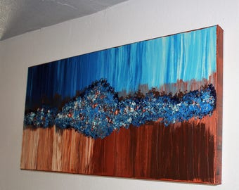Bubbling Up Abstract Painting 30x18x1.5