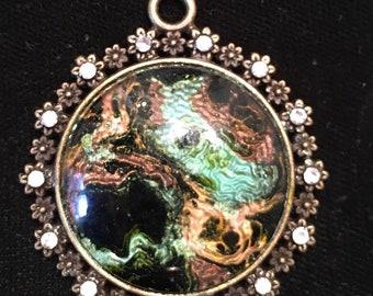 Hand painted round pendant