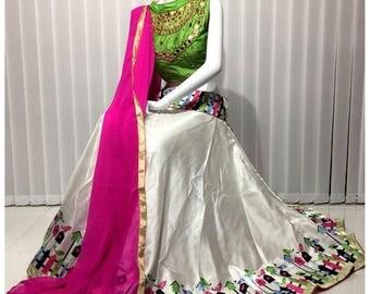 Indian party wear wedding mehndi sangeet bollywood  latest designer new crop top skirt stitched lehenga choli ghaghra chaniya choli
