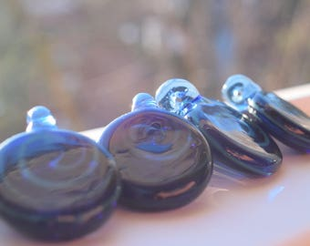 Blue Swirl Glass Pendant - - Free Shipping