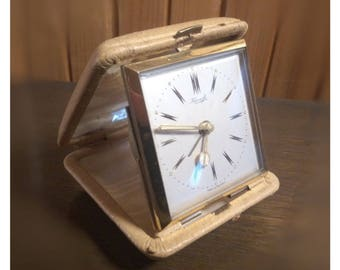 Vintage KIENZLE Folding Travel Alarm Clock desk watch made in Germany
