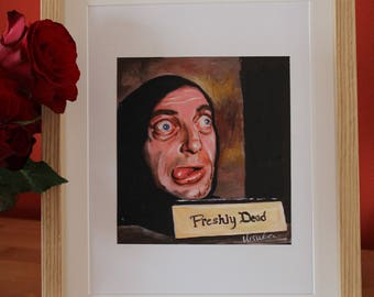 Young Frankenstien's painting of Igor Marty Feldman.  Hand painted in acrylic on card