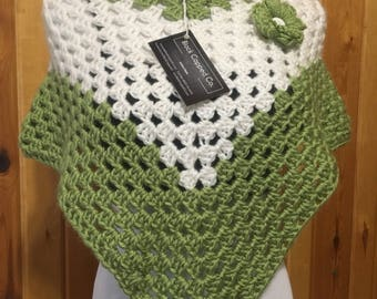 Light Green & White Poncho, with flower
