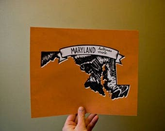 Maryland State Bird Print- Baltimore Oriole, 8x10 inches.