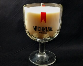 Soy Candle Vintage Michelob Beer Glass-Honey Vanilla Scent