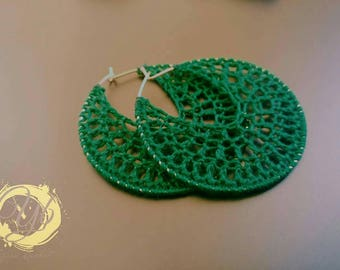 Handmade crochet hoop earrings
