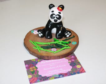 SOLD beautiful flirtatious panda sold polymer clay