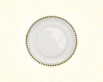 "Glass Charger Plate 13"" - Gold Beaded"
