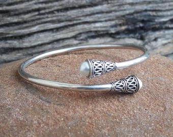 Silver Bangle Bracelet and beads
