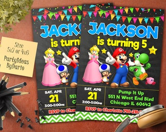 Super Mario birthday invitation, Super Mario Invite, Super Mario invitation, Super Mario birthday