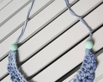 Denim ombre effect crochet necklace