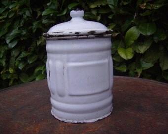 SUGAR white enamel box / / 30s-40s