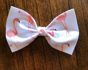 Handmade flamingo Bow Clip