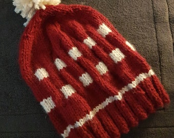 Wool red and white hat