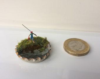 Fishing / Miniature Diorama / Bottle Cap