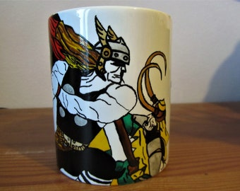 Hand painted Thor and Loki Cup, Marvel, unique piece, ceramics, collection, breakfast, comics