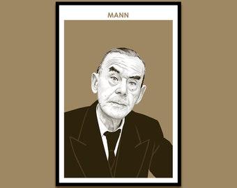 Thomas Mann - Author Poster | Art Print | Literary Poster | Bookworm Gift | Modern Home Decor