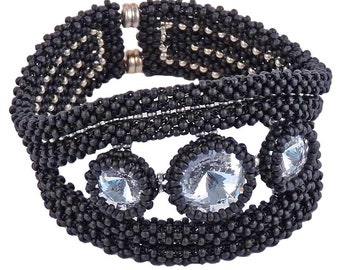 Glass bead bracelet Black, Swarovski